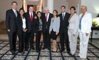 SDSU intern Kaleb Kroger (third from left) stands with Ricardo Martinelli (middle), president of the Republic of Panama; Vice President and Foreign Minister Juan Carlos Varela (far left); and Barbara Stephenson (far right), U.S. Ambassador to Panama, who has since been promoted to deputy chief of mission at the U.S. Embassy in London. The other people in the photo are local Panamanian interns. The occasion was the ambassador's July 4 gathering.