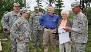 Gene and JoAnn Goodale of Pekin, Illinois, visit with military personnel at the construction site of the Goodale-Renz ROTC Confidence Obstacle Course June 14. Pictured from left to right are: 2nd Lt. Daniel Katz of Vermont, Lt. Col. Kory L. Knight of Brookings, 1st Lt. Matthew Huff of Vermont, Gene and JoAnn Goodale, and Seg. 1st Class Brad Jorgenson of the South Dakota National Guard. The course is under construction north and east of the Performing Arts Center on campus. The Goodales, both graduates of South Dakota State University, are funding the ROTC course in honor of their family's U.S. military service.