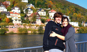 Relaxing on a fall day by the Neckar River that runs through the middle of Heidelberg.