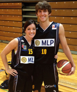 Clint and Jill Sargent pose in the uniforms of their Heidelberg, Germany, basketball teams