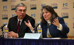 College of Agriculture and Biological Sciences Dean Barry Dunn looks on as Agriculture Deputy Secretary Kathleen Merrigan announces the $4 million, five-year grant at an SDSU press conference Feb. 27.