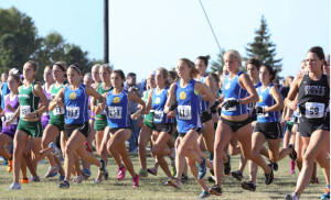 SDSU cross-country runners charge off the starting line at the 2011 SDSU Classic. Pictured, from left, are Tera Potts (113), Danielle McCann (108), Brooke Wyffels (117), Courtney Neubert (110), Krista Creager (behind Neubert), Erin Hargens, Alex Suhr (115) and Laura Bauer.   A research project funded through the South Dakota Beef Council showed that long-distance runners who supplemented their diets with 9 ounces of lean beef retained more lean body mass than those who did not.