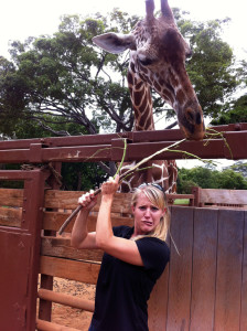Arne goofs around with a giraffe, a normal day in the life of a Honolulu Wildlife Educator. In 2012, Arne moved to the island of Oahu to do outreach to schools for the Honolulu Zoological Society.