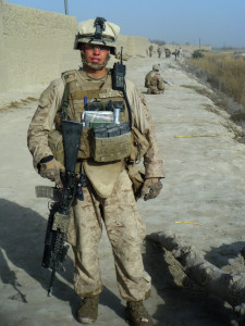 Aaron Delzer, who served in the infantry with the Marines, spent seven months in Afghanistan. He is shown here on the Patriots route, an area where the Marines had come in contact with a lot of homemade bombs and firefights with Taliban fighters.