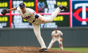 Caleb Thielbar on the mound during game action in summer 2013 with the Minnesota Twins. The left-hander became the first player in the history of SDSU baseball to appear in a major league game after being called up by the Twins May 20. –Photograph courtesy of the Minnesota Twins
