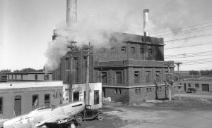 The P-51 on the south side of the SDSU power plant in the late 1940s.