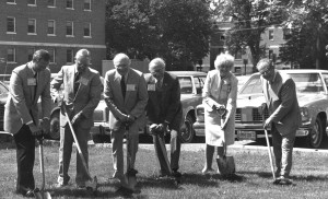Groundbreaking of Tompkins Alumni Center, June 14, 1975.