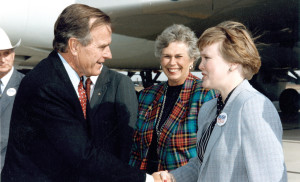 Toman, right, greeting President George H.W. Bush in Sioux Falls during the 1992 presidential campaign. Lt. Gov. Walter D. Miller is hidden. Pat Adam, Gov. Mickelson's sister, is in the center.