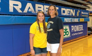 In addition to being mother and daughter, JoElle (Byre) Benson '86, right, and Ellie Benson share the distinction of being student-athletes at State. JoElle played volleyball one year and basketball three years at State while Ellie is a redshirt freshman on the 2015 volleyball team.