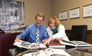 President David '69 and Marcia '71 Chicoine recall their undergraduate days at State by reviewing various yearbooks.