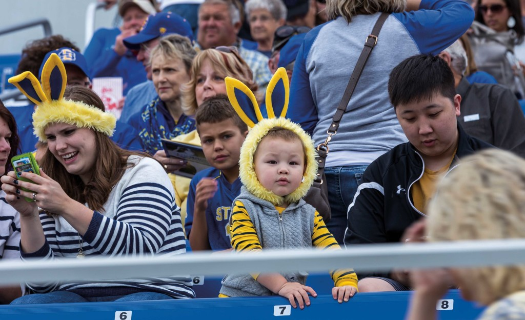 "Jack!! Over here!!! This fan takes ""Ears Up!"" to heart when cheering on the Jackrabbits."
