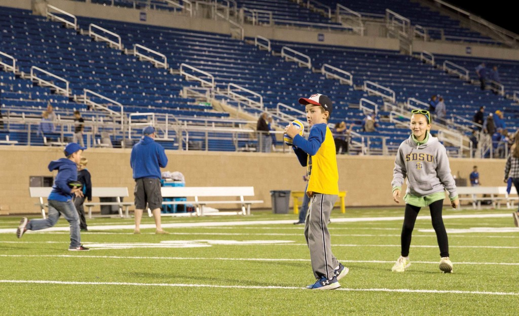 Catch this: Possible future Jackrabbits attempt to re-enact Goedert's catch and think of making their own memories at Dana J. Dykhouse Stadium. For years, Jackrabbits fans showed their skills postgame at Coughlin-Alumni Stadium and the tradition continues today.