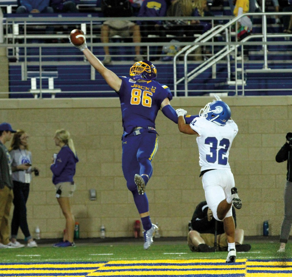 The catch: While this catch was only for a 3-yard touchdown, it will remain in the memories of Dallas Goedert and Jacks fans for years to come. This catch was ranked No. 1 on ESPN's College Football Final and No. 5 on Top Plays for that day. Photo by Dave Eggen, Inertia Sports Media.