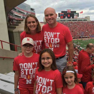 The Hoffmans at Memorial Stadium. Brianna and Andy Hoffman with their children, from left, Jack, 11; Ava, 9; and Reese, 6.